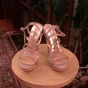 ***FINAL PRICE/NO OFFERS ****BEBE GOLD SILK HEELS